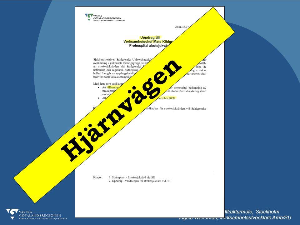 091013 Nationellt höftfrakturmöte, Stockholm Ingela Wennman, Verksamhetsutvecklare Amb/SU Hjärnvägen