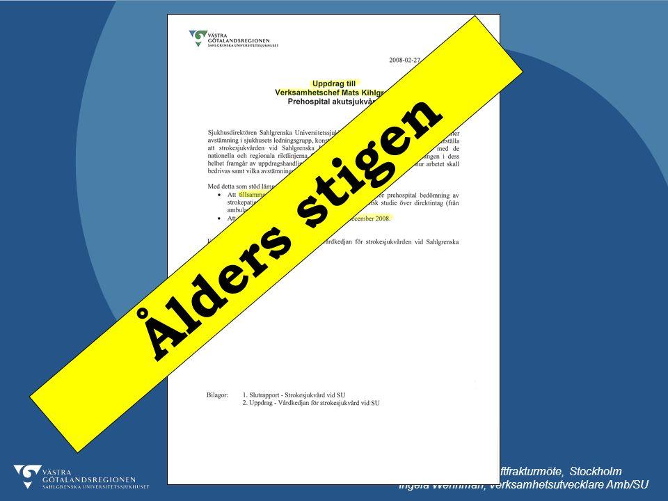 091013 Nationellt höftfrakturmöte, Stockholm Ingela Wennman, Verksamhetsutvecklare Amb/SU Ålders stigen