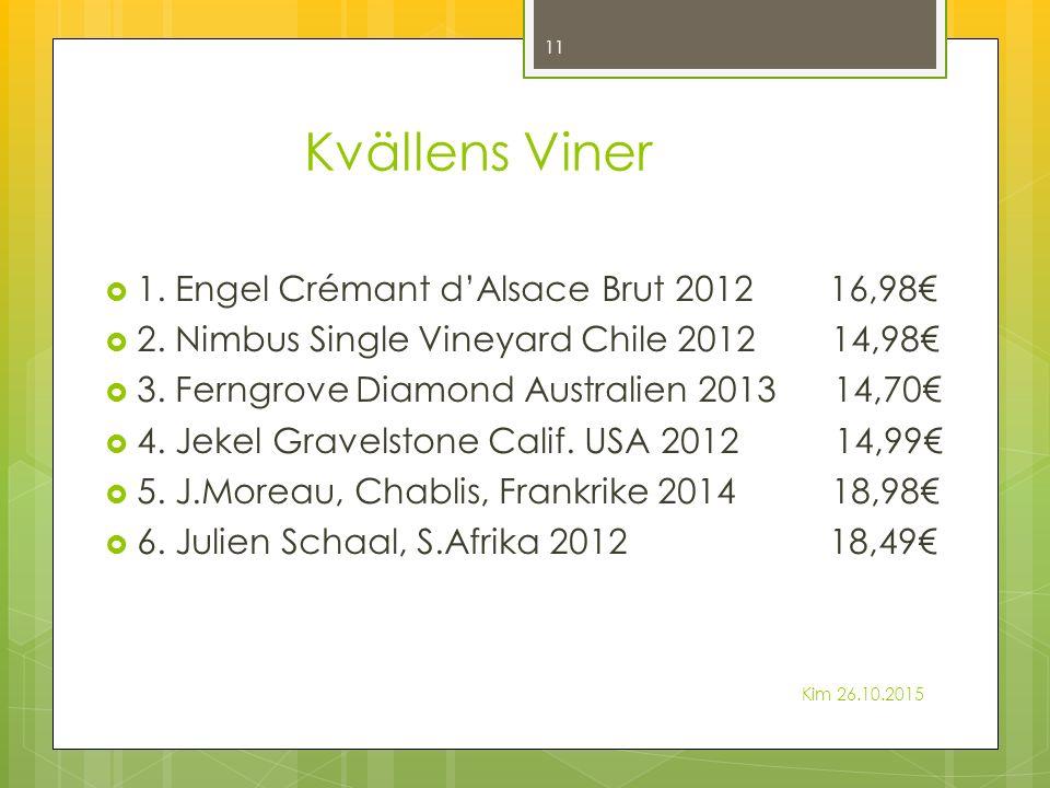 Kvällens Viner  1.Engel Crémant d'Alsace Brut 2012 16,98€  2.