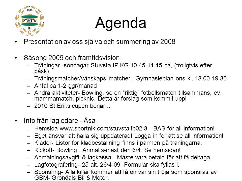 Agenda Presentation av oss själva och summering av 2008 Säsong 2009 och framtidsvision –Träningar -söndagar Stuvsta IP KG 10.45-11.15 ca, (troligtvis efter påsk).