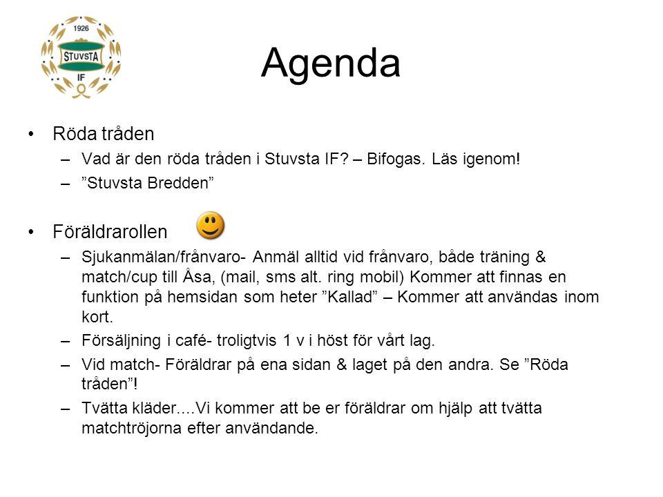 Agenda Röda tråden –Vad är den röda tråden i Stuvsta IF.