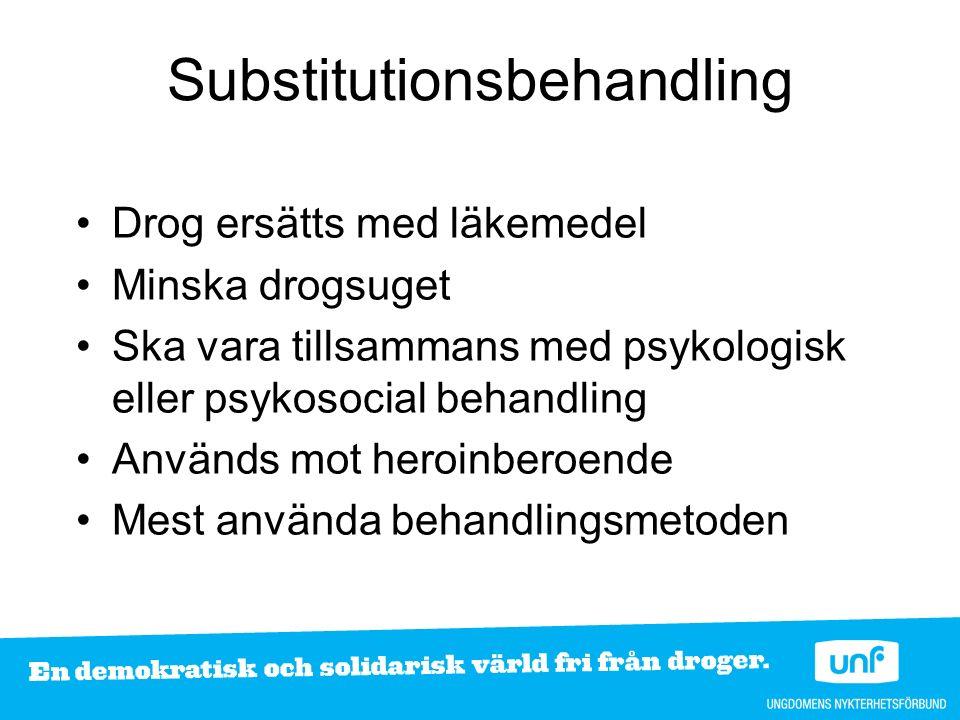 Drog ersätts med läkemedel Minska drogsuget Ska vara tillsammans med psykologisk eller psykosocial behandling Används mot heroinberoende Mest använda behandlingsmetoden