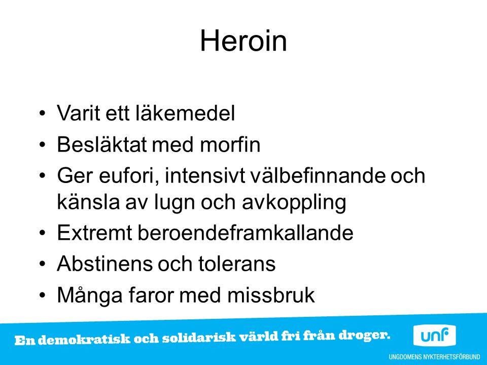 Heroin Varit ett läkemedel Besläktat med morfin Ger eufori, intensivt välbefinnande och känsla av lugn och avkoppling Extremt beroendeframkallande Abstinens och tolerans Många faror med missbruk