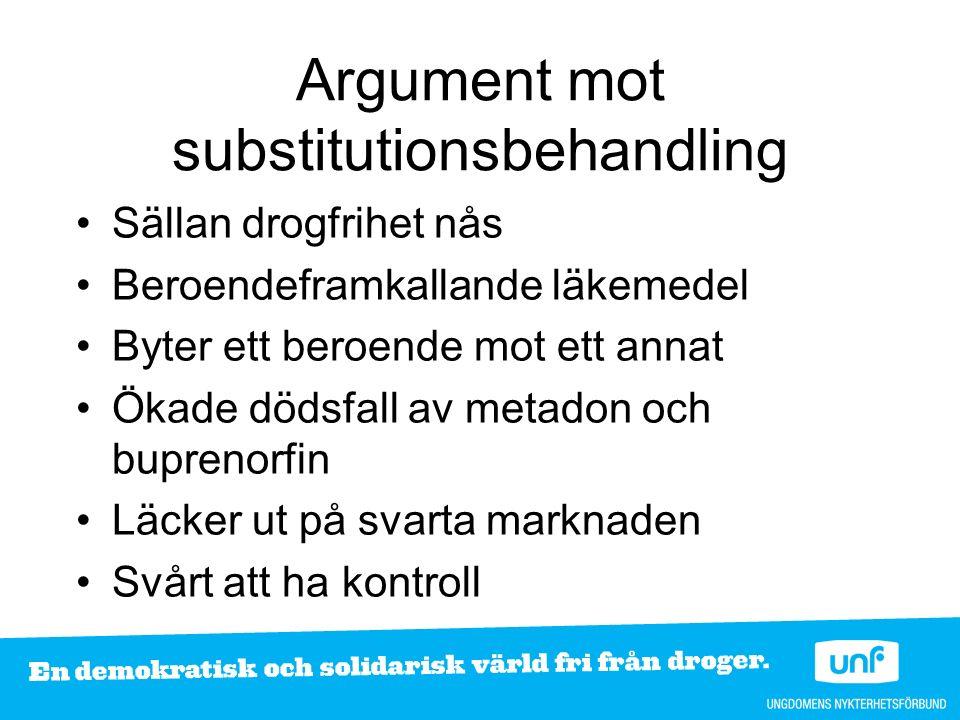 Diskussionsfrågor Är substitutionsbehandling ett positivt eller negativt sätt att behandla beroende.