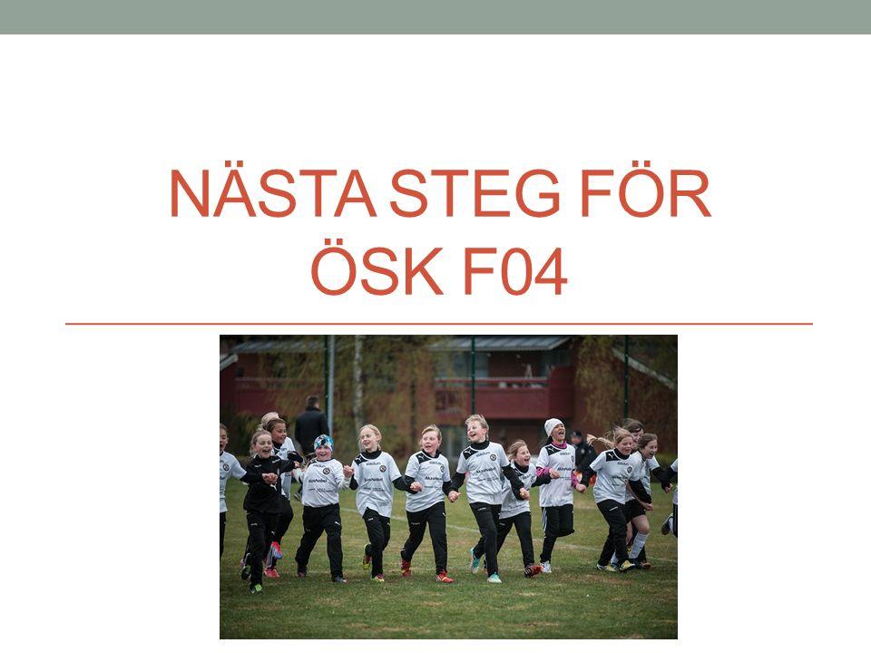 Det var en gång… ÖSK F04 startar hösten 2011 Sedan starten finns 5 tjejer kvar Martin var med från början Idag är vi 19 tjejer Uttalad bredd-verksamhet: Alla är välkomna på lika villkor Fin sammanhållning – stor spridning i nivå