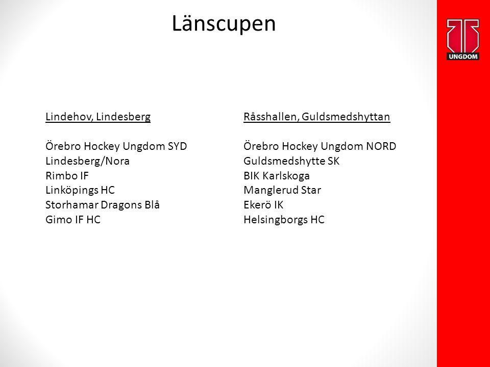 Länscupen Lindehov, Lindesberg Örebro Hockey Ungdom SYD Lindesberg/Nora Rimbo IF Linköpings HC Storhamar Dragons Blå Gimo IF HC Råsshallen, Guldsmedsh