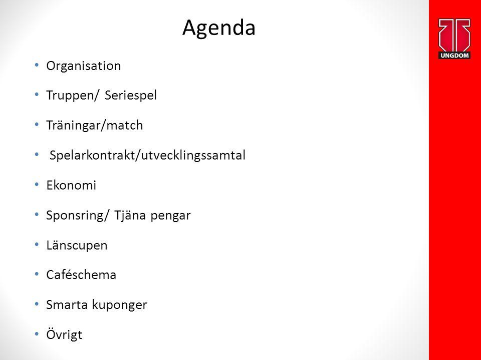 Organisation Truppen/ Seriespel Träningar/match Spelarkontrakt/utvecklingssamtal Ekonomi Sponsring/ Tjäna pengar Länscupen Caféschema Smarta kuponger Övrigt Agenda