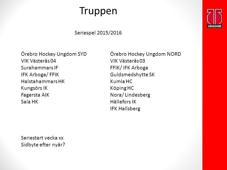 Truppen Seriespel 2015/2016 Örebro Hockey Ungdom SYD VIK Västerås 04 Surahammars IF IFK Arboga/ FFIK Halstahammars HK Kungsörs IK Fagersta AIK Sala HK