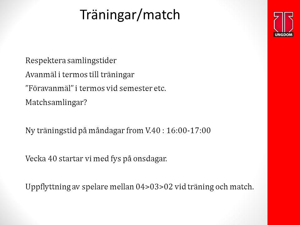 """Träningar/match Respektera samlingstider Avanmäl i termos till träningar """"Föravanmäl"""" i termos vid semester etc. Matchsamlingar? Ny träningstid på mån"""