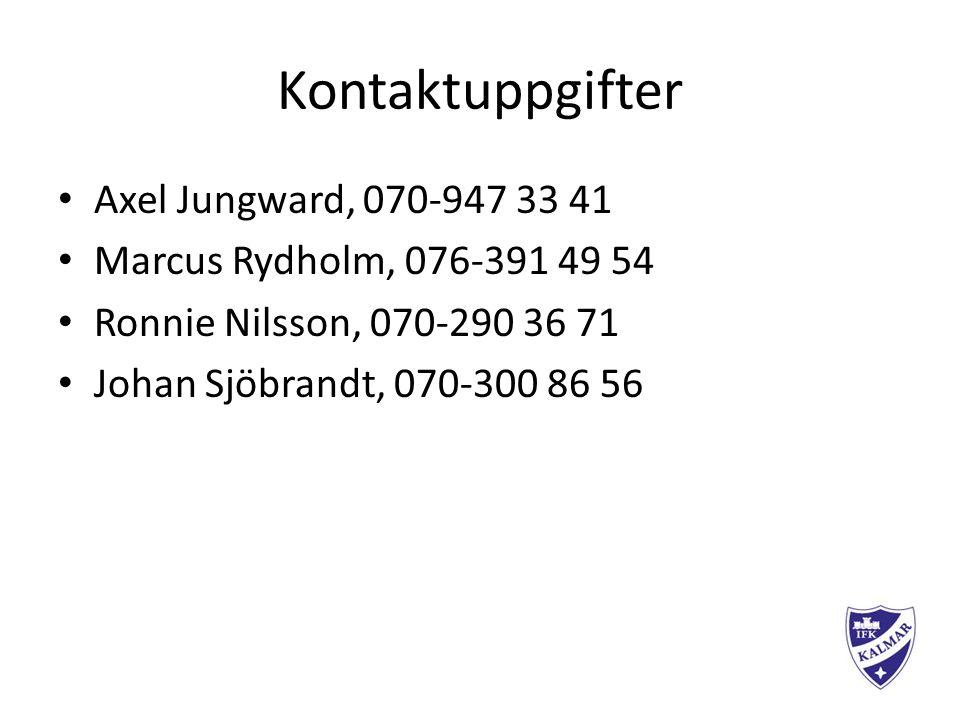 Kontaktuppgifter Axel Jungward, 070-947 33 41 Marcus Rydholm, 076-391 49 54 Ronnie Nilsson, 070-290 36 71 Johan Sjöbrandt, 070-300 86 56