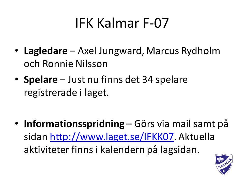 IFK Kalmar F-07 Lagledare – Axel Jungward, Marcus Rydholm och Ronnie Nilsson Spelare – Just nu finns det 34 spelare registrerade i laget.