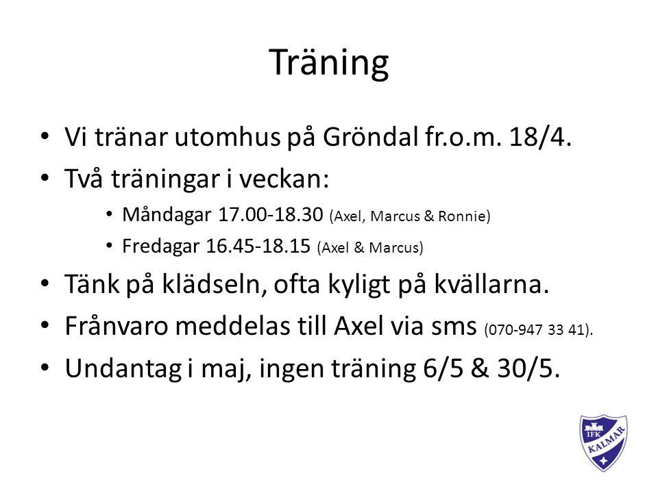 Träning Vi tränar utomhus på Gröndal fr.o.m. 18/4.