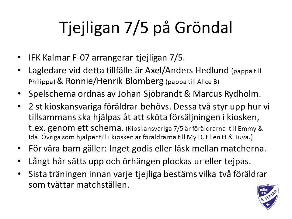 Tjejligan 7/5 på Gröndal IFK Kalmar F-07 arrangerar tjejligan 7/5.