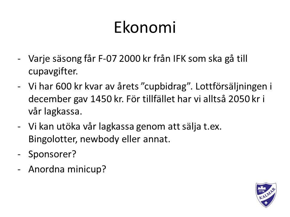 Ekonomi -Varje säsong får F-07 2000 kr från IFK som ska gå till cupavgifter.
