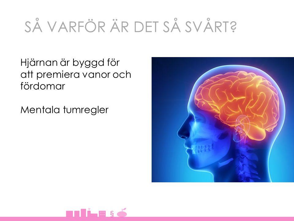 SÅ VARFÖR ÄR DET SÅ SVÅRT? Hjärnan är byggd för att premiera vanor och fördomar Mentala tumregler