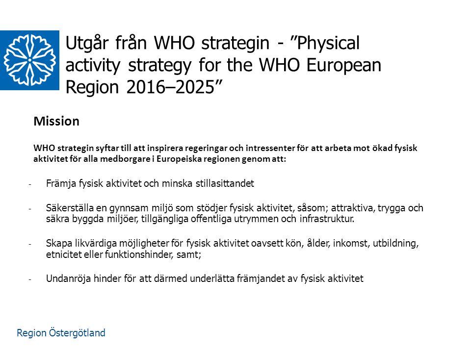 Region Östergötland Mission WHO strategin syftar till att inspirera regeringar och intressenter för att arbeta mot ökad fysisk aktivitet för alla medborgare i Europeiska regionen genom att: - Främja fysisk aktivitet och minska stillasittandet - Säkerställa en gynnsam miljö som stödjer fysisk aktivitet, såsom; attraktiva, trygga och säkra byggda miljöer, tillgängliga offentliga utrymmen och infrastruktur.