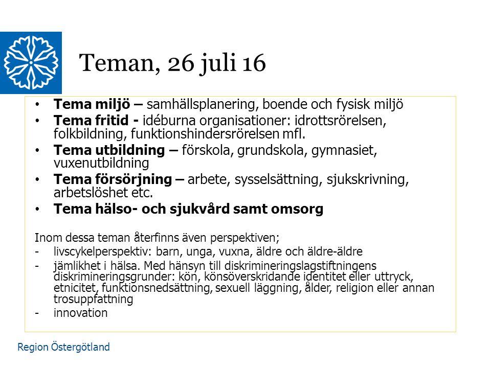Region Östergötland Tema miljö – samhällsplanering, boende och fysisk miljö Tema fritid - idéburna organisationer: idrottsrörelsen, folkbildning, funktionshindersrörelsen mfl.