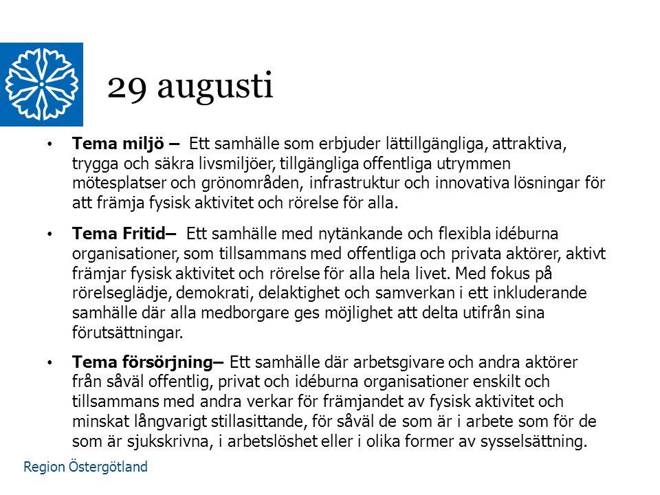 Region Östergötland Tema miljö – Ett samhälle som erbjuder lättillgängliga, attraktiva, trygga och säkra livsmiljöer, tillgängliga offentliga utrymmen mötesplatser och grönområden, infrastruktur och innovativa lösningar för att främja fysisk aktivitet och rörelse för alla.