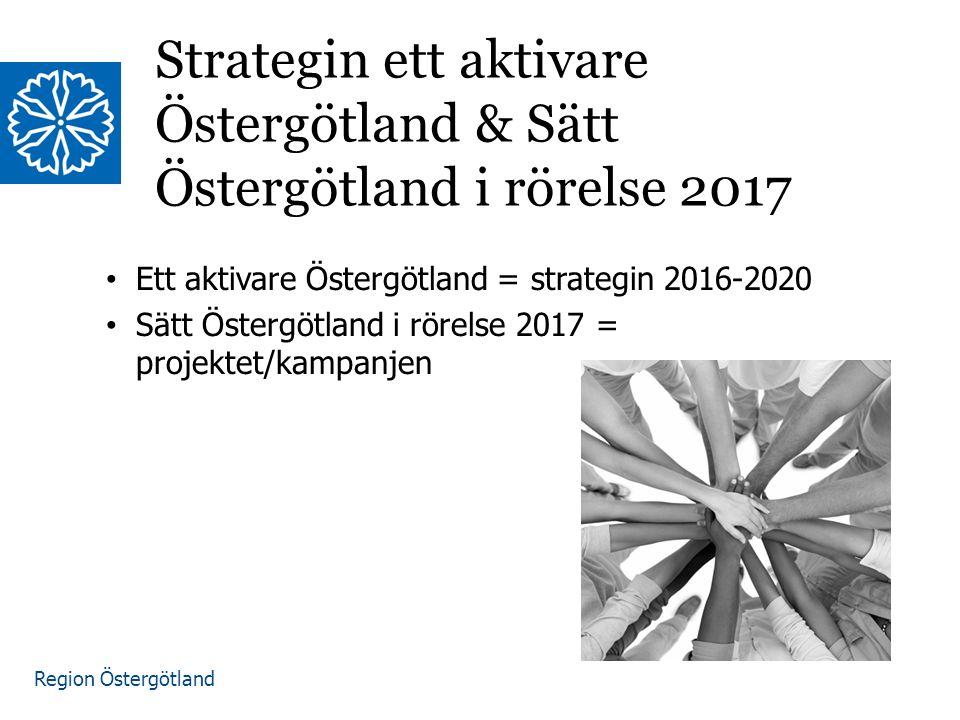 Region Östergötland Ett aktivare Östergötland = strategin 2016-2020 Sätt Östergötland i rörelse 2017 = projektet/kampanjen Strategin ett aktivare Östergötland & Sätt Östergötland i rörelse 2017