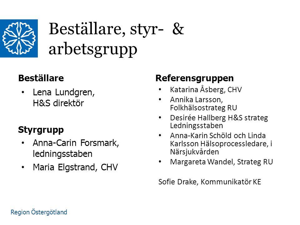 Region Östergötland Beställare Lena Lundgren, H&S direktör Styrgrupp Anna-Carin Forsmark, ledningsstaben Maria Elgstrand, CHV Referensgruppen Katarina