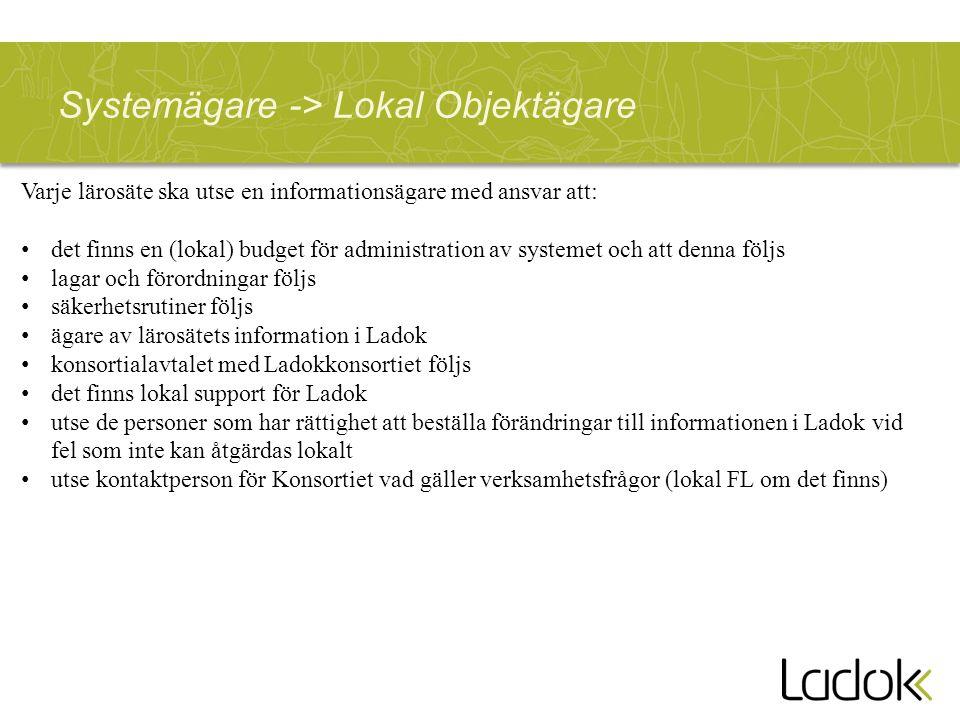 Systemägare -> Lokal Objektägare Varje lärosäte ska utse en informationsägare med ansvar att: det finns en (lokal) budget för administration av system