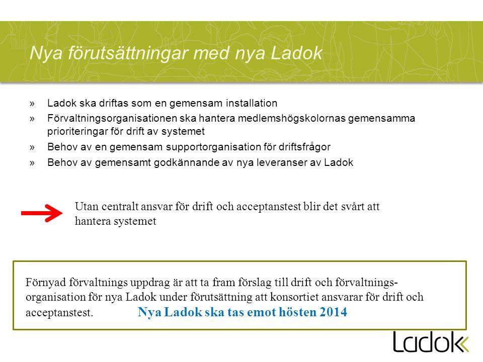 Nya förutsättningar med nya Ladok »Ladok ska driftas som en gemensam installation »Förvaltningsorganisationen ska hantera medlemshögskolornas gemensam