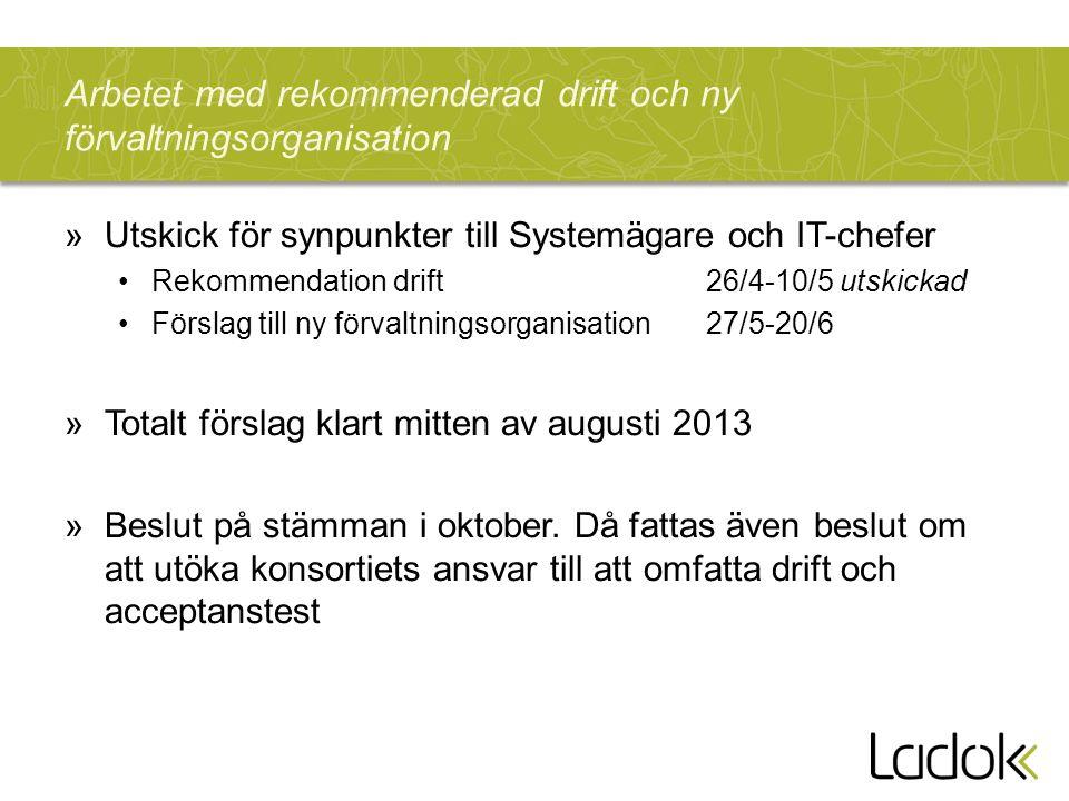 Arbetet med rekommenderad drift och ny förvaltningsorganisation »Utskick för synpunkter till Systemägare och IT-chefer Rekommendation drift 26/4-10/5