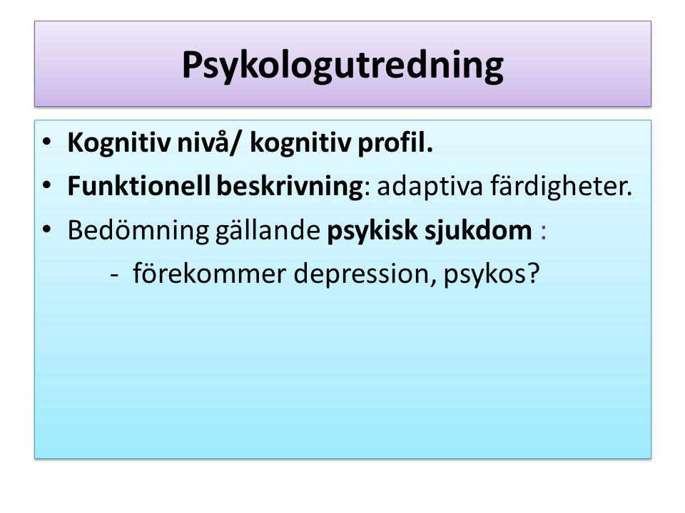 Psykologutredning Kognitiv nivå/ kognitiv profil. Funktionell beskrivning: adaptiva färdigheter.