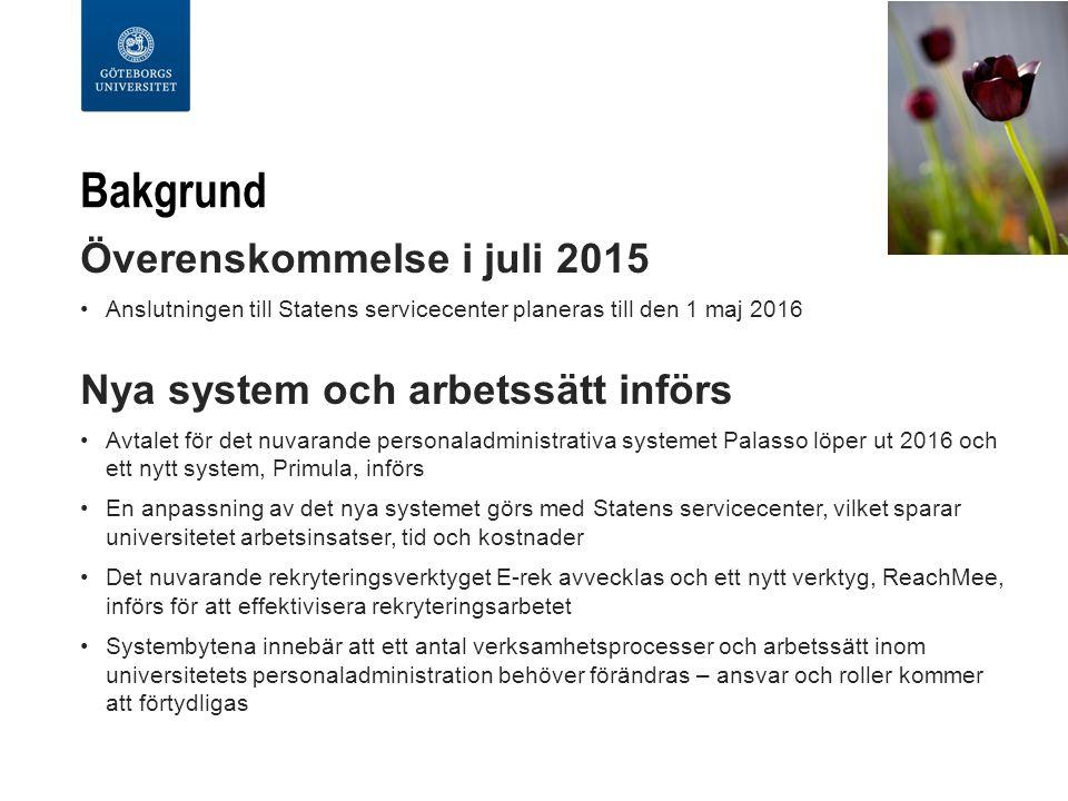 Bakgrund Överenskommelse i juli 2015 Anslutningen till Statens servicecenter planeras till den 1 maj 2016 Nya system och arbetssätt införs Avtalet för