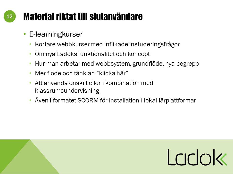 12 Material riktat till slutanvändare E-learningkurser Kortare webbkurser med inflikade instuderingsfrågor Om nya Ladoks funktionalitet och koncept Hu