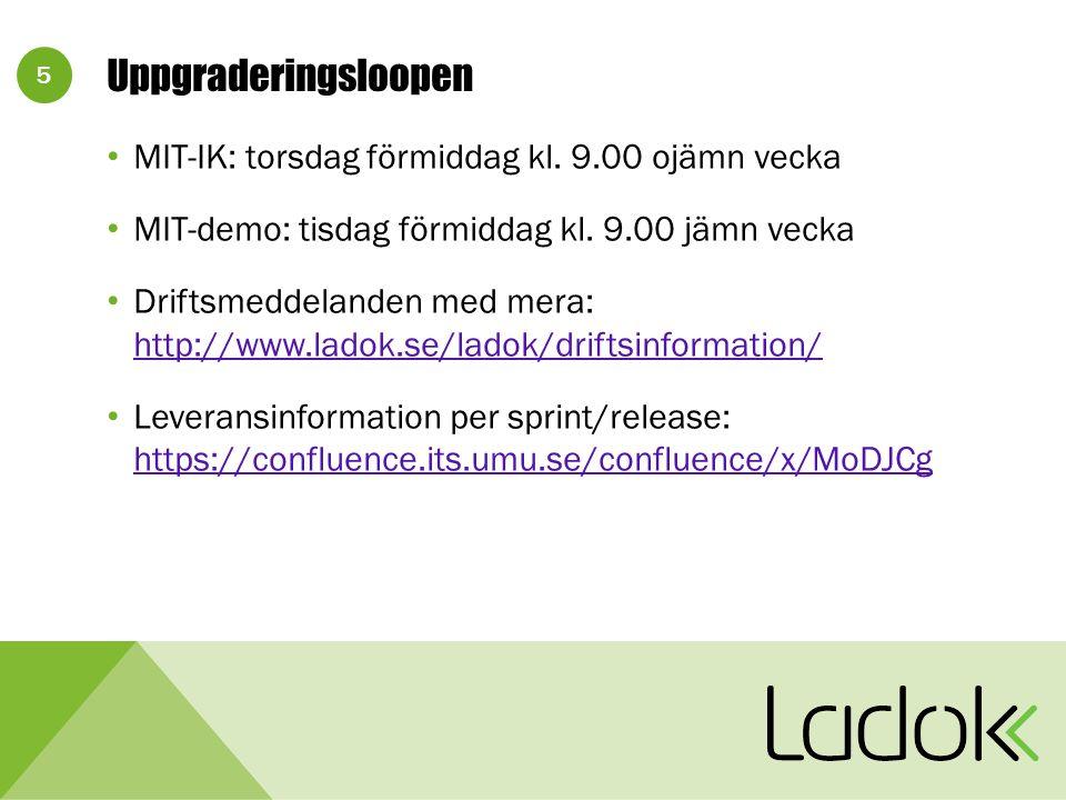 5 Uppgraderingsloopen MIT-IK: torsdag förmiddag kl.
