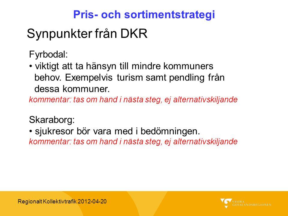 Regionalt Kollektivtrafik 2012-04-20 Pris- och sortimentstrategi Synpunkter från DKR Fyrbodal: viktigt att ta hänsyn till mindre kommuners behov. Exem