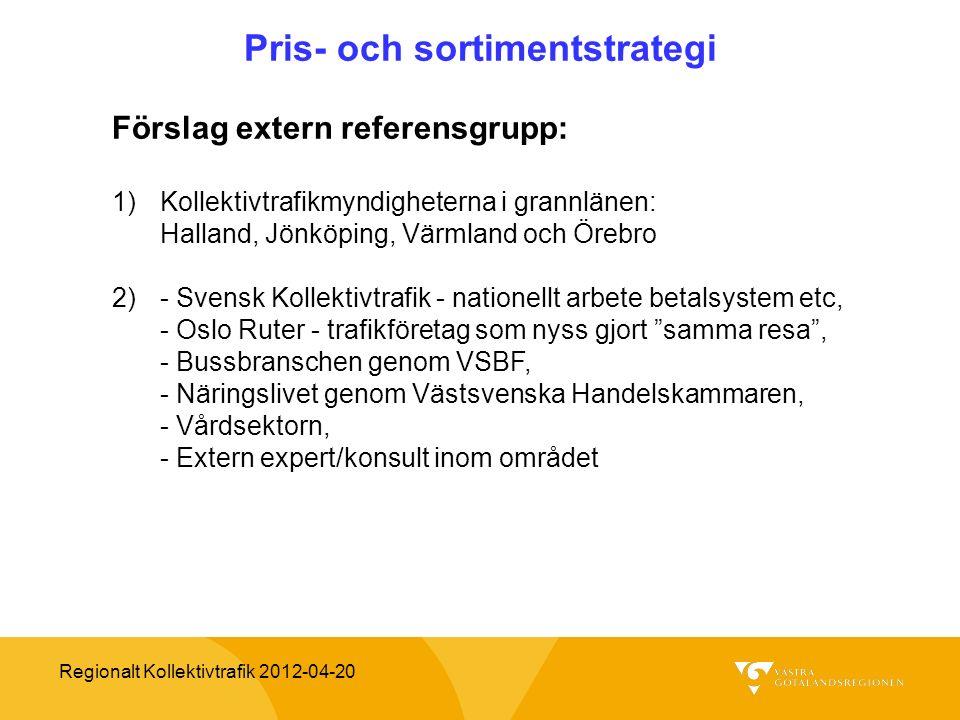 Regionalt Kollektivtrafik 2012-04-20 Pris- och sortimentstrategi Förslag extern referensgrupp: 1)Kollektivtrafikmyndigheterna i grannlänen: Halland, J