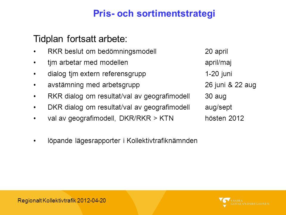 Regionalt Kollektivtrafik 2012-04-20 Pris- och sortimentstrategi Tidplan fortsatt arbete: RKR beslut om bedömningsmodell20 april tjm arbetar med model