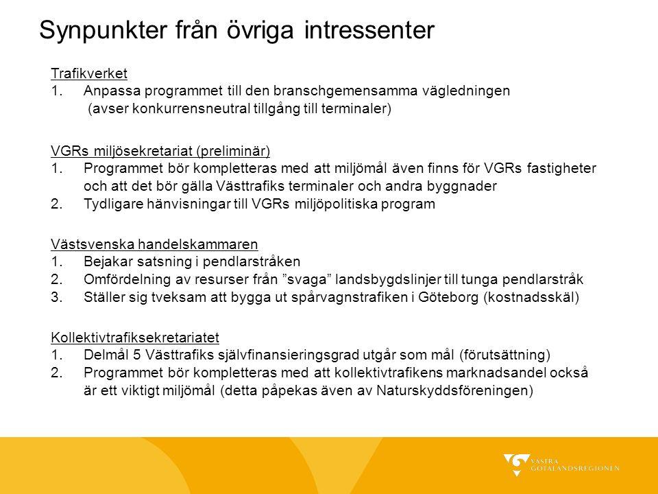 Synpunkter från övriga intressenter Västsvenska handelskammaren 1.Bejakar satsning i pendlarstråken 2.Omfördelning av resurser från svaga landsbygdslinjer till tunga pendlarstråk 3.Ställer sig tveksam att bygga ut spårvagnstrafiken i Göteborg (kostnadsskäl) VGRs miljösekretariat (preliminär) 1.Programmet bör kompletteras med att miljömål även finns för VGRs fastigheter och att det bör gälla Västtrafiks terminaler och andra byggnader 2.Tydligare hänvisningar till VGRs miljöpolitiska program Trafikverket 1.Anpassa programmet till den branschgemensamma vägledningen (avser konkurrensneutral tillgång till terminaler) Kollektivtrafiksekretariatet 1.Delmål 5 Västtrafiks självfinansieringsgrad utgår som mål (förutsättning) 2.Programmet bör kompletteras med att kollektivtrafikens marknadsandel också är ett viktigt miljömål (detta påpekas även av Naturskyddsföreningen)