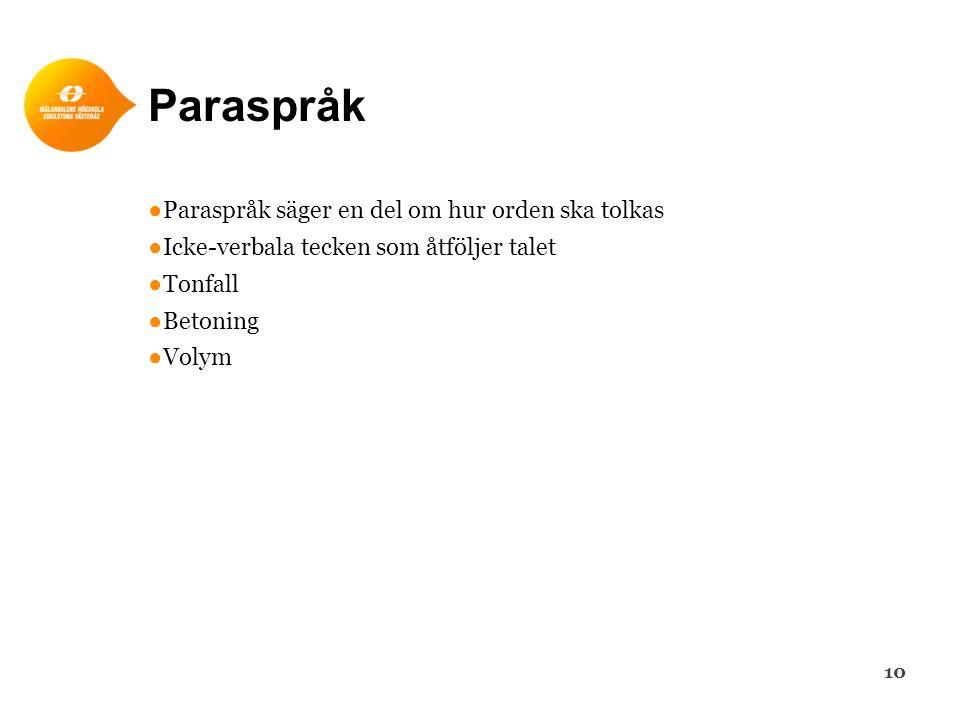 Paraspråk ●Paraspråk säger en del om hur orden ska tolkas ●Icke-verbala tecken som åtföljer talet ●Tonfall ●Betoning ●Volym 10