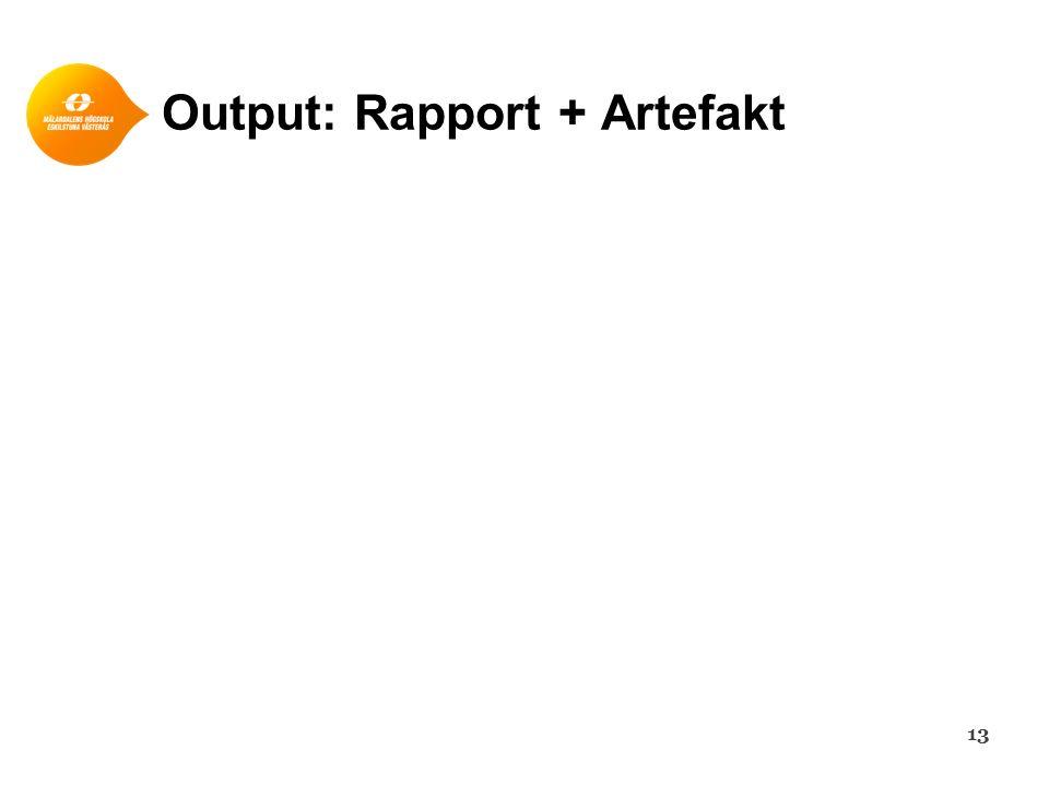 Output: Rapport + Artefakt 13