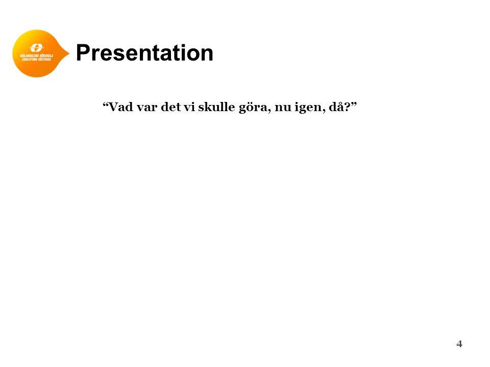 Presentation 4 Vad var det vi skulle göra, nu igen, då