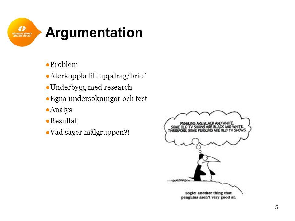 Argumentation ●Problem ●Återkoppla till uppdrag/brief ●Underbygg med research ●Egna undersökningar och test ●Analys ●Resultat ●Vad säger målgruppen .