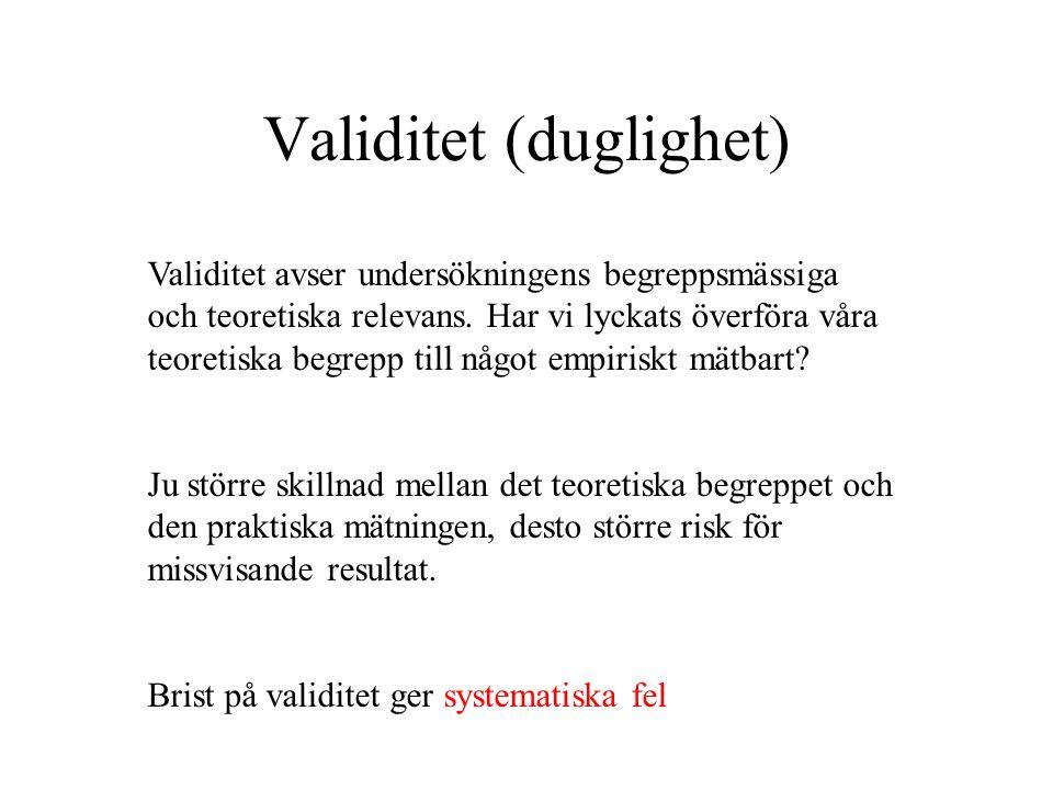 Validitet (duglighet) Validitet avser undersökningens begreppsmässiga och teoretiska relevans.