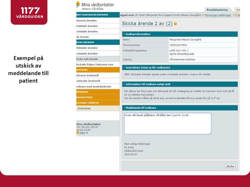 Exempel på utskick av meddelande till patient