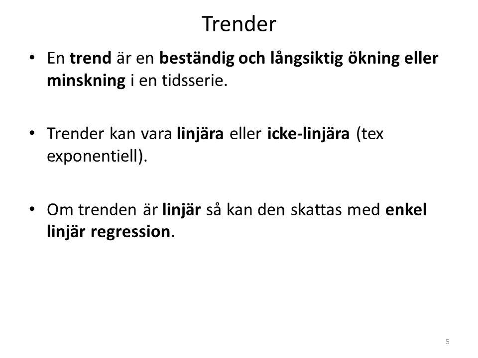 Trender En trend är en beständig och långsiktig ökning eller minskning i en tidsserie.