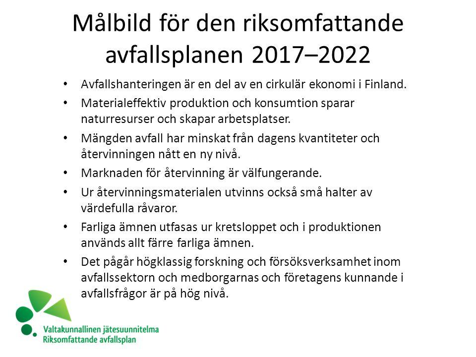 Målbild för den riksomfattande avfallsplanen 2017–2022 Avfallshanteringen är en del av en cirkulär ekonomi i Finland.