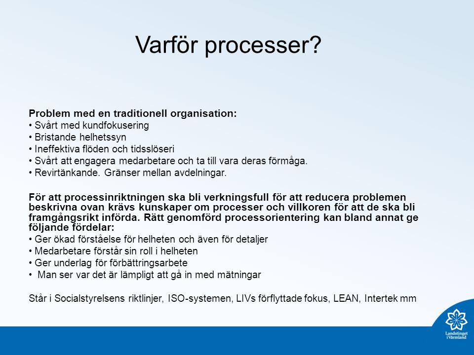 Varför processer? Problem med en traditionell organisation: Svårt med kundfokusering Bristande helhetssyn Ineffektiva flöden och tidsslöseri Svårt att