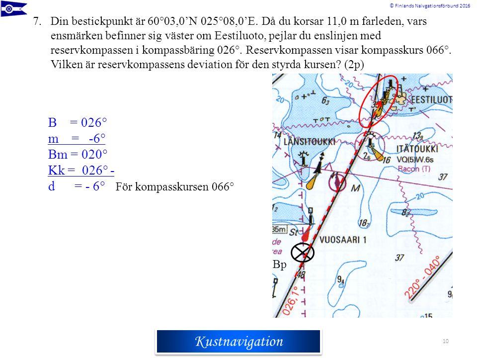 Rannikkomerenkulkuoppi © Finlands Naivgationsförbund 2016 Kustnavigation 7.Din bestickpunkt är 60°03,0'N 025°08,0'E. Då du korsar 11,0 m farleden, var