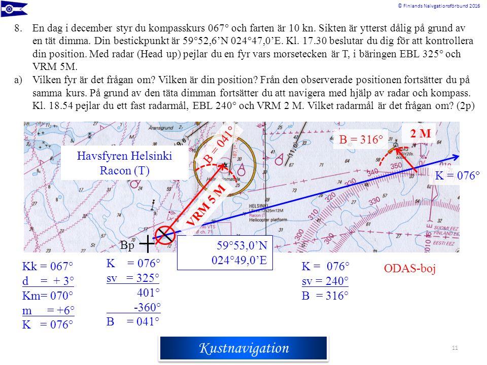 Rannikkomerenkulkuoppi © Finlands Naivgationsförbund 2016 Kustnavigation 11 8.En dag i december styr du kompasskurs 067° och farten är 10 kn. Sikten ä