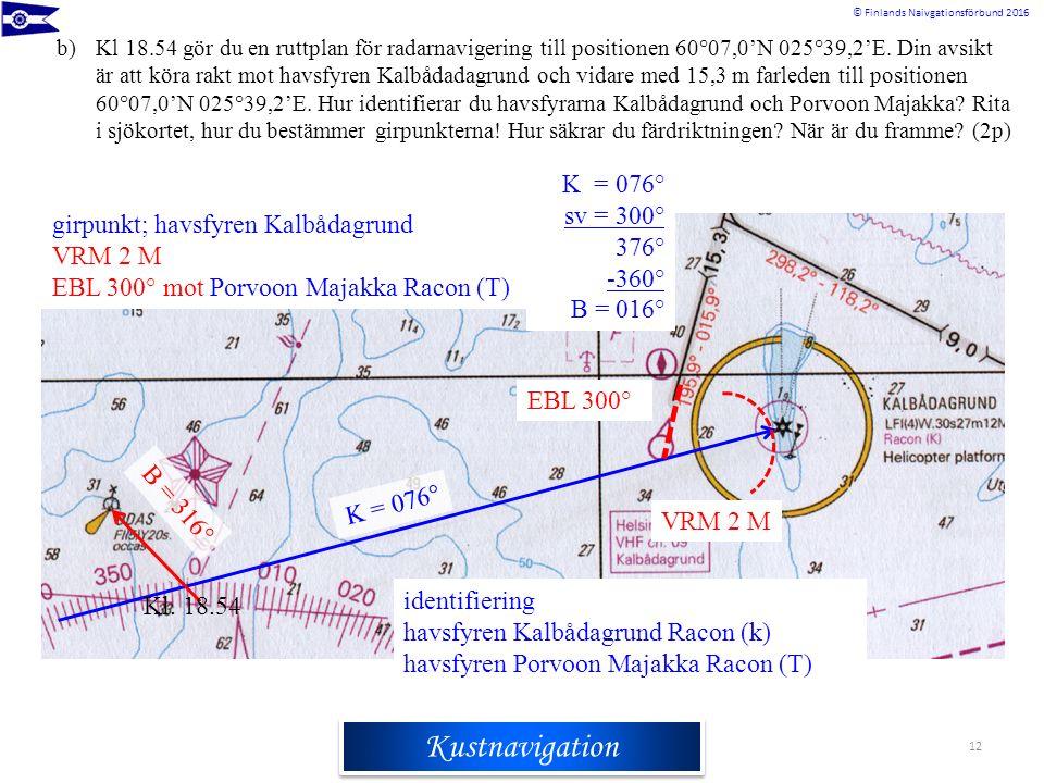 Rannikkomerenkulkuoppi © Finlands Naivgationsförbund 2016 Kustnavigation 12 b)Kl 18.54 gör du en ruttplan för radarnavigering till positionen 60°07,0'N 025°39,2'E.