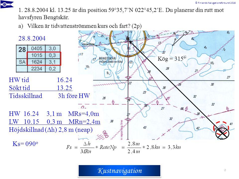Rannikkomerenkulkuoppi © Finlands Naivgationsförbund 2016 Kustnavigation 2 1. 28.8.2004 kl. 13.25 är din position 59°35,7'N 022°45,2'E. Du planerar di