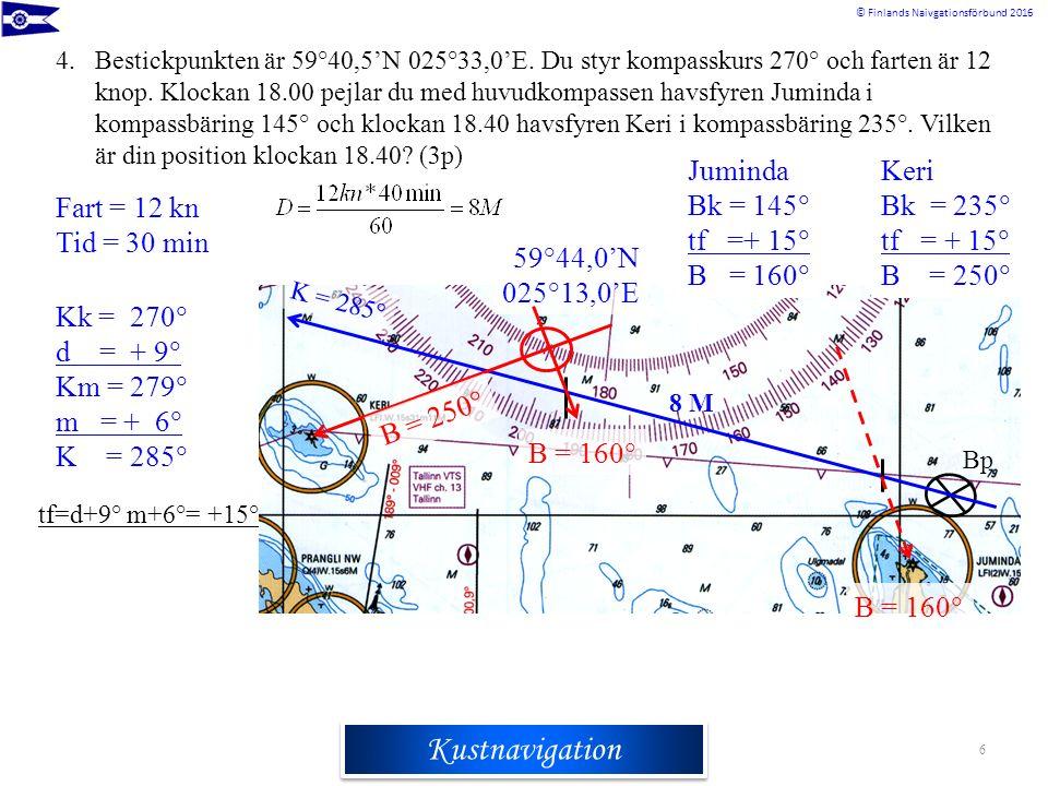 Rannikkomerenkulkuoppi © Finlands Naivgationsförbund 2016 Kustnavigation 4.Bestickpunkten är 59°40,5'N 025°33,0'E. Du styr kompasskurs 270° och farten