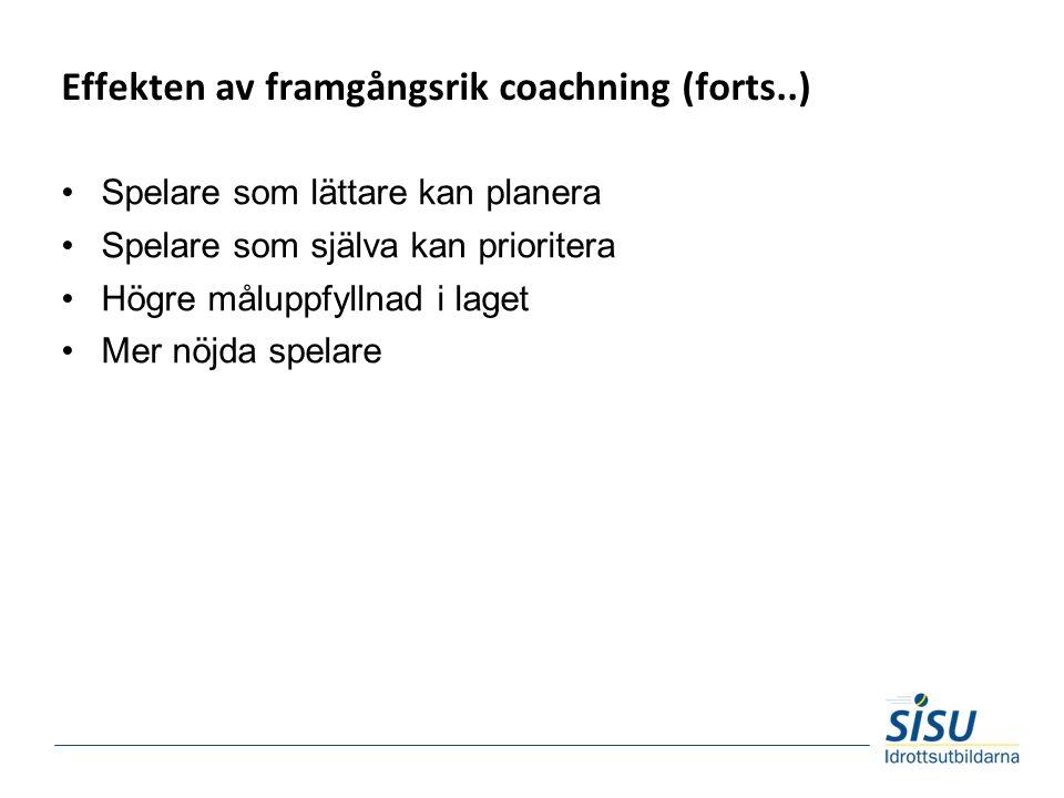Effekten av framgångsrik coachning (forts..) Spelare som lättare kan planera Spelare som själva kan prioritera Högre måluppfyllnad i laget Mer nöjda spelare